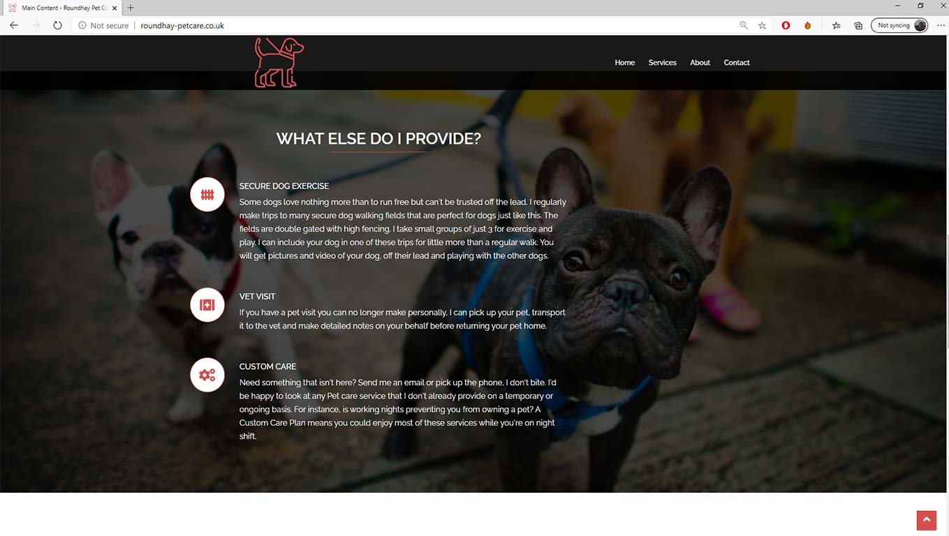 Roundhay Petcare services page screen grab